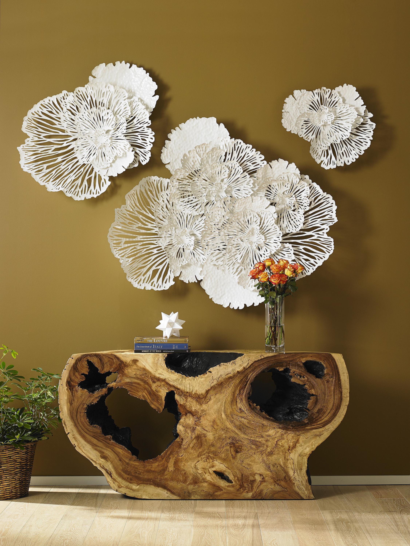 Flower Wall Art White Large