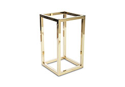 Square End Table Base / Plated Brass Finish, Base Only