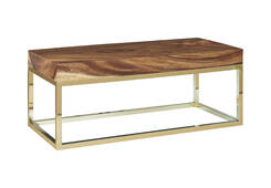 Coffee Table Base / Rectangle, Plated Brass Finish, w/ PC Top