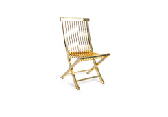 Slatted Folding Chair / Plated Brass Finish