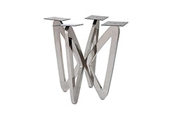 Butterfly End Table Base / Stainless Steel, w/ PC Top