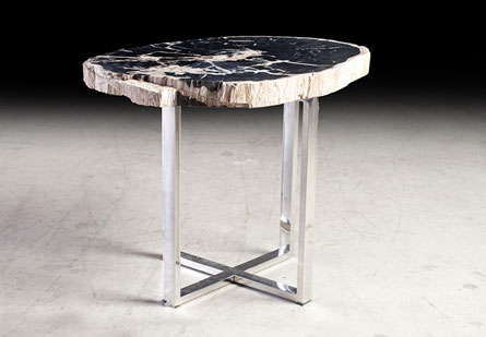 Petrified Slab Side Table, Top Polish, Black/White