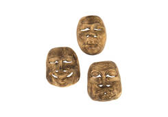 Indonesian Masks / Assorted, Grey Stone Effect