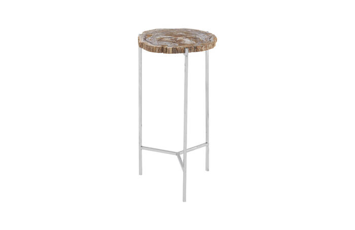 Petrified Wood Side Table / Off White, SM