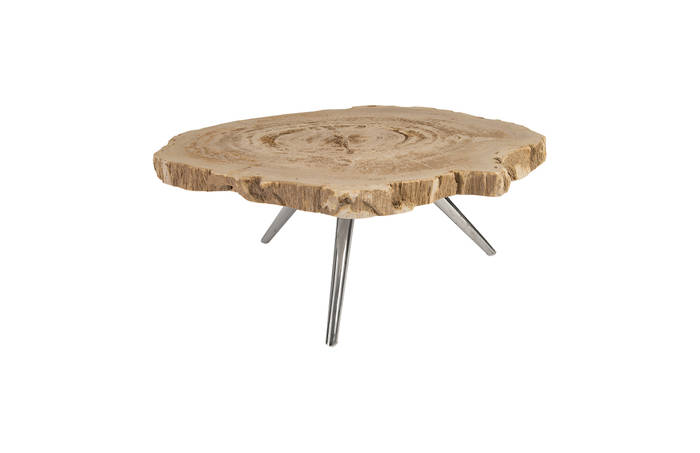 Petrified Wood Coffee Table Stainless Steel Legs Id83104