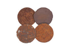 Galvanized Circle Wall Tiles / Set of 4, Resin, Rust