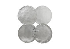Galvanized Circle Wall Tiles / Set of 4, Silver Leaf