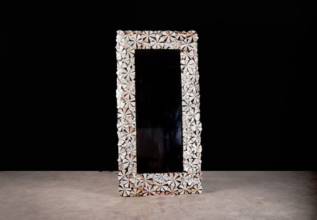 Asterisk Mirror, Hand inlaid Mother of Pearl