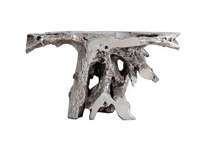 Brivo Freeform Console Table, Silver Leaf