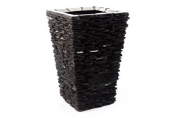 Stacked Stone Planter<br />Stainless Accents