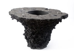 Lava Stone Planter Table<br />Stainless Accents
