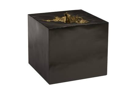 Black Side Table Gold Leaf Indent