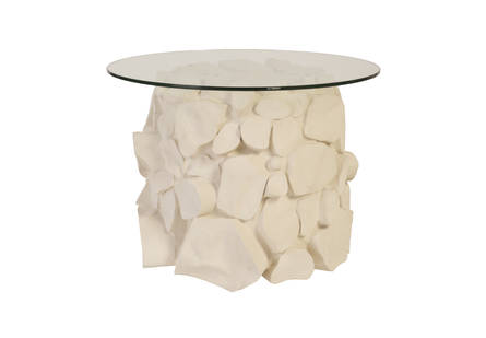 Cairn Side Table White Stone