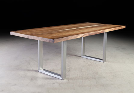 Chamcha Wood Dining Table, 2 Slabs Joined, SS Legs