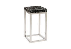 Captured Silver Flake / Side Table with SS Base