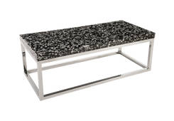 Captured Silver Flake / Coffee Table Rectangle with SS Base