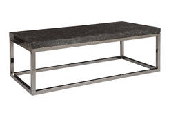 Captured Denim / Coffee Table Rectangle w/ Plated Black Nickel Base