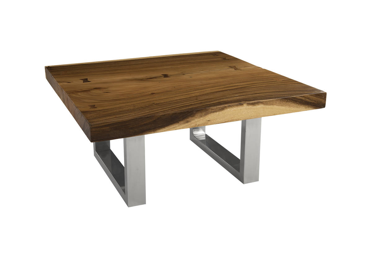 Phillips collection chamcha wood coffee table stainless steel legs geotapseo Images