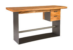 Chamcha Wood Desk / Iron Frame with Drawers