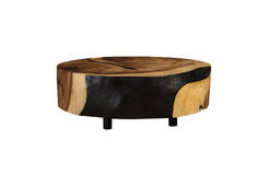 Chamcha Wood Coffee Table / Oval, Black Crevices