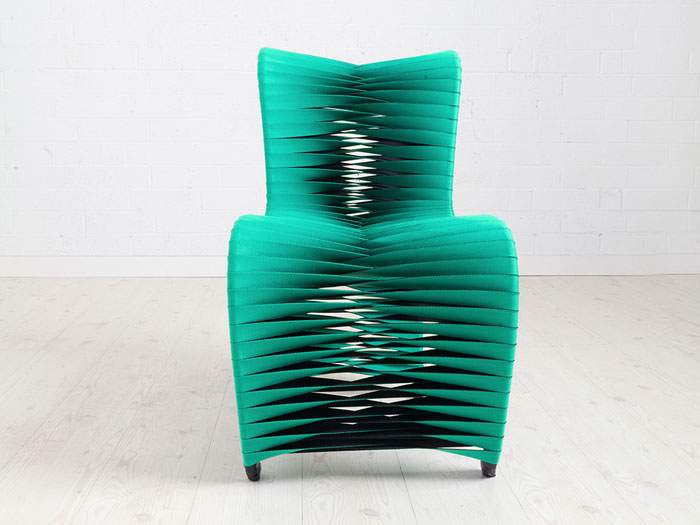 Unique modern emerald green teal seat belt dining accent chair hunger