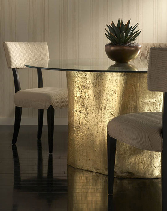 gold glass dining table grey velvet dining log dining table 60 phillips collection every piece of conversation