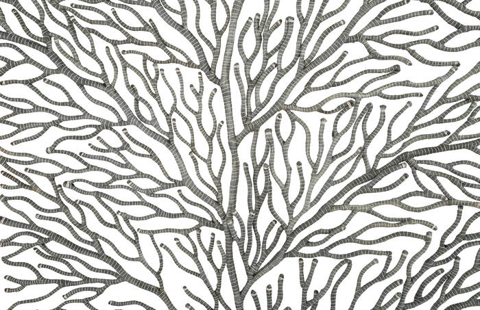 Coral Wall Art Rectangle, Grey And Silver