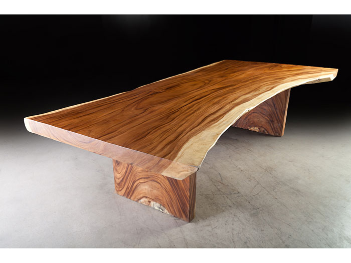 Long Contemporary Dining Table Exotic Monkey Wood Spectacular Unique