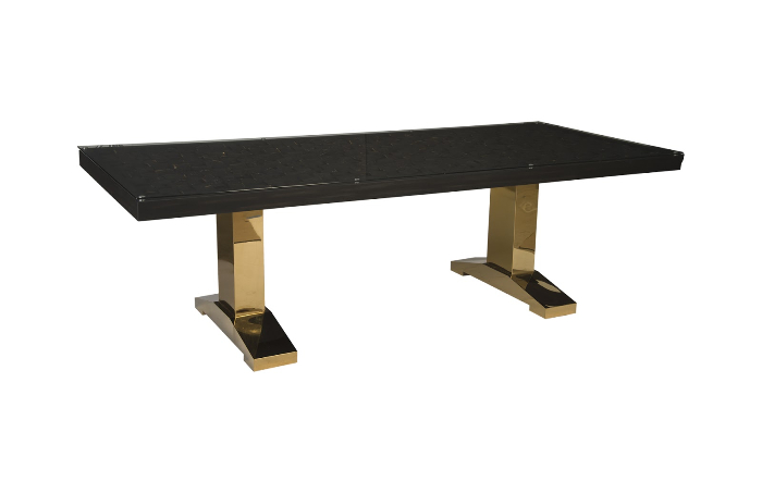 Distressed Blocks Dining Table Wood Glass Plated Brass Legs Black With Gold Leaf