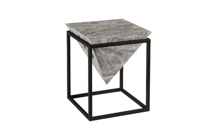 Inverted Pyramid Small Side Table - Small Black Metal Rectangle Side Table