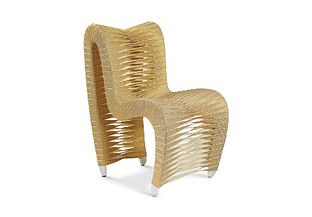 Seat Belt Dining Chair Gold, Metallic