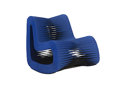 angled view of the Phillips Collection Seat Belt Blue Rocking Chair which is made of straps woven to create a sculptural shape from interlocking bands