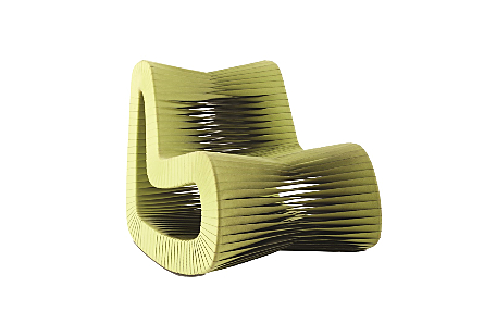 angled view of the Phillips Collection Seat Belt Green Rocking Chair which is made of straps woven to create a sculptural shape from interlocking bands