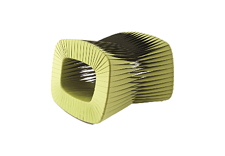 angled view of the Phillips Collection Seat Belt Green Ottoman which is made of straps woven to create a sculptural shape from interlocking bands