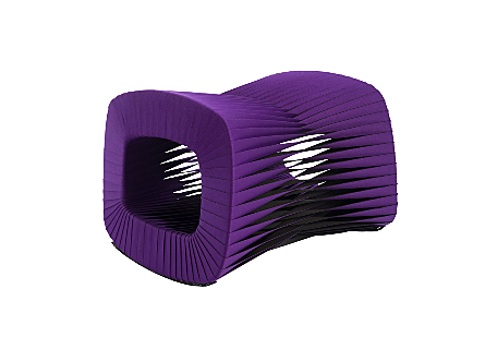 angled view of the Phillips Collection Seat Belt Purple Ottoman which is made of straps woven to create a sculptural shape from interlocking bands