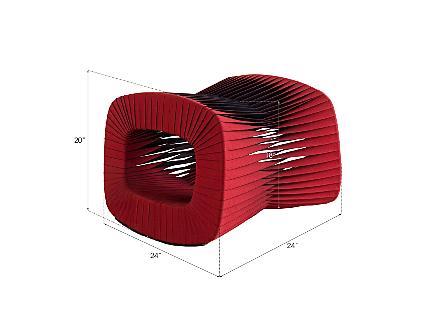 Seat Belt Ottoman Red