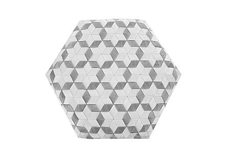 Seat Belt Poof Ottoman White/Grey