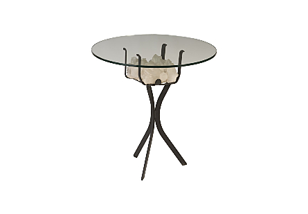 "White Quartz Crystal Side Table Base w/ 24"" Glass"