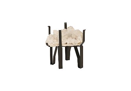 "White Quartz Crystal Coffee Table Base w/ 24"" Glass"