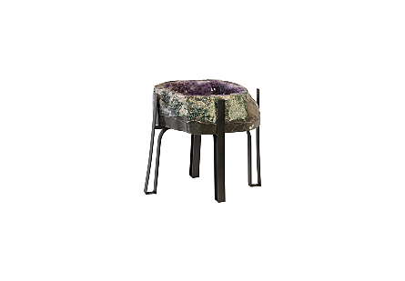 Amethyst Side Table Metal Base