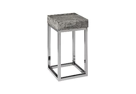 Hayden Chamcha Wood End Table Grey Stone, Square, Black Nickel Base