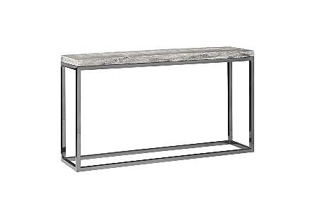 Hayden Chamcha Wood Console Table Grey Stone Finish, Black Nickel Base