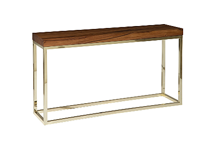 angled view of the Phillips Collection Hayden Natural Console Table with a natural chamcha wood top nestled into a plated brass frame