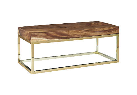 Chamcha Wood Coffee Table Natural, Rectangle, Plated Brass Base