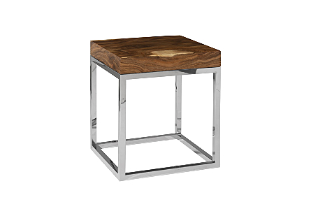 angled view of the Phillips Collection Hayden Silver Natural End Table with a natural chamcha wood top nestled into a stainless-steel frame
