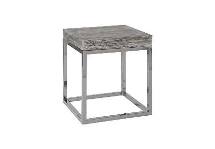 Hayden Chamcha Wood End Table Grey Stone Finish, Square, Black Nickel Base