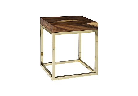 Hayden Chamcha Wood End Table Natural, Square, Plated Brass Base