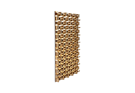 Arete Wall Art Rectangle, Plated Brass Finish