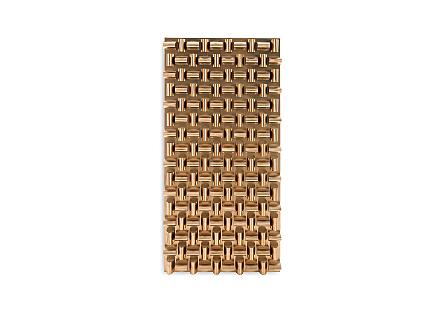 Arete Wall Art Rectangle, Plated Brass Finish