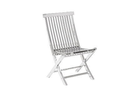 Slatted Folding Chair Stainless Steel